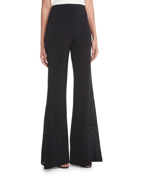 Alice + Olivia Mandy Side-Panel Flared Crepe Pants