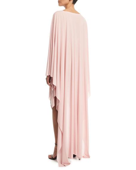 High-Low Round-Neck Poncho Dress