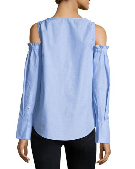 Shiyah Split-Neck Cold-Shoulder Poplin Shirt