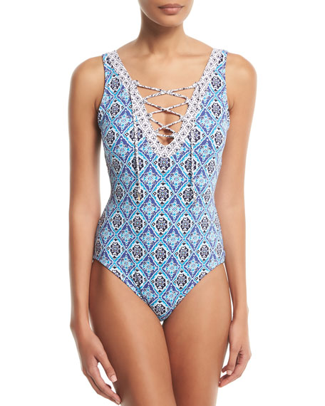 Tommy Bahama Tika Reversible Lace-Front One-Piece Swimsuit
