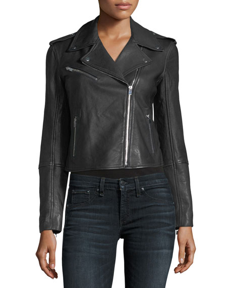 Gracella Zip-Front Cropped Leather Jacket