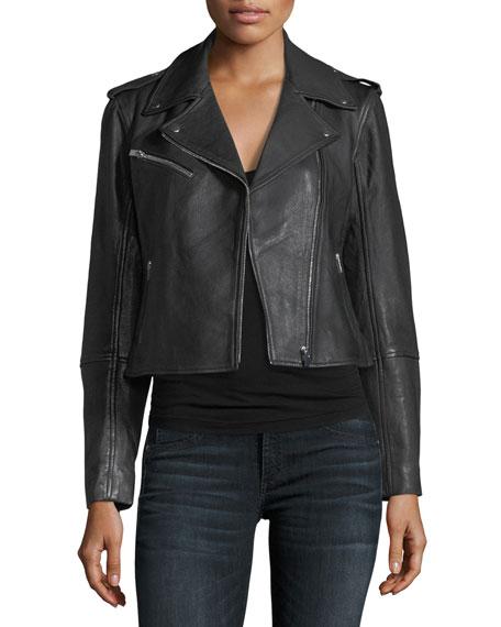 Club Monaco Gracella Zip-Front Cropped Leather Jacket