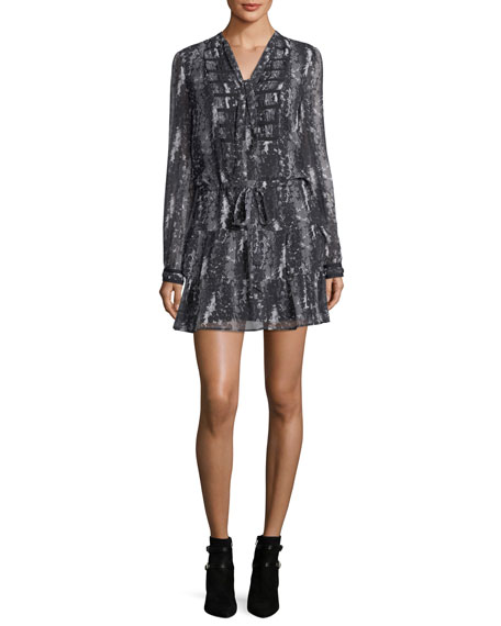 PAIGE Keiko Tie-Neck Long-Sleeve Printed Dress