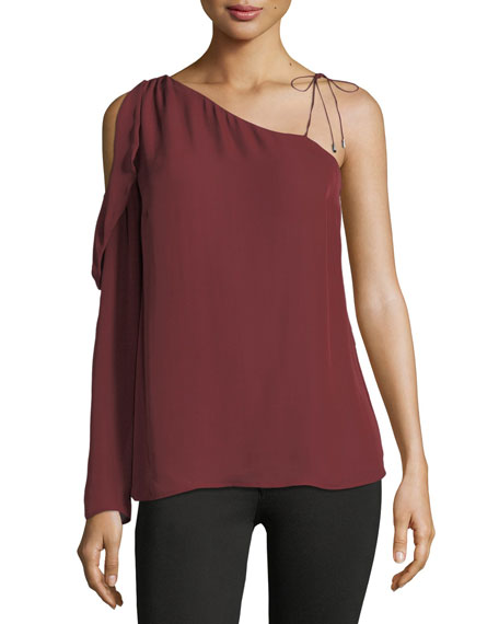 PAIGE Florentina One-Shoulder Silk Blouse