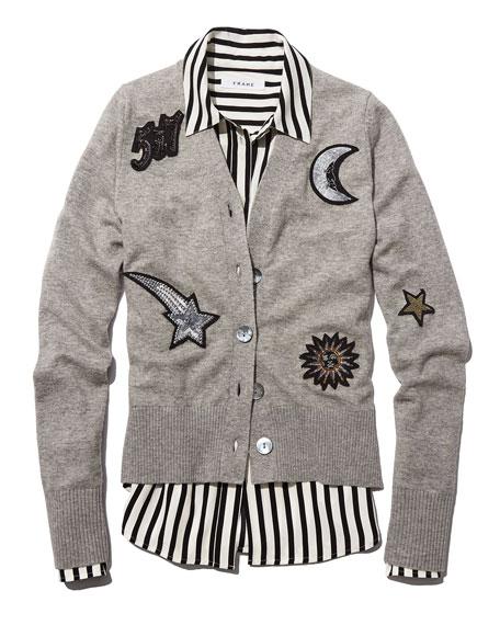 Long-Sleeve Striped Silk Pajama Blouse