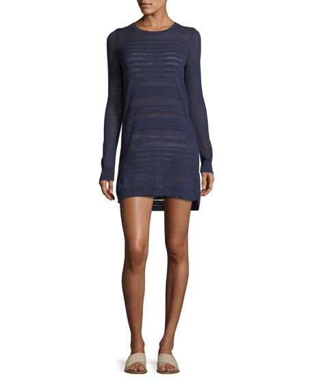 Textured Crewneck Cotton Coverup Dress