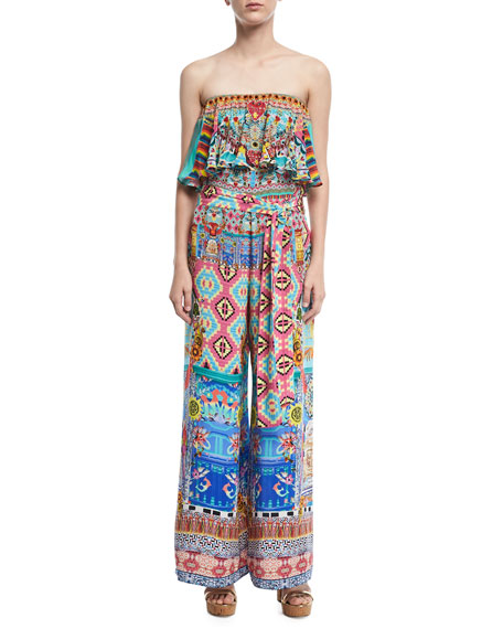 Camilla Strapless Wide-Leg Printed Jumpsuit