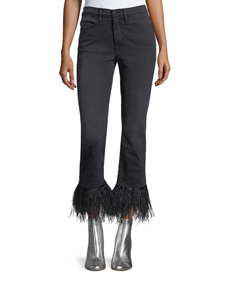 FRAME Le High Straight-Leg Ankle Jeans with Feather