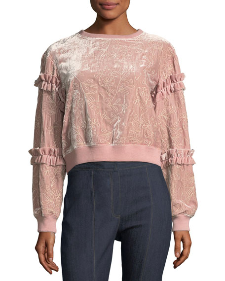 cinq a sept Nara Embroidered Velvet Pullover Sweatshirt