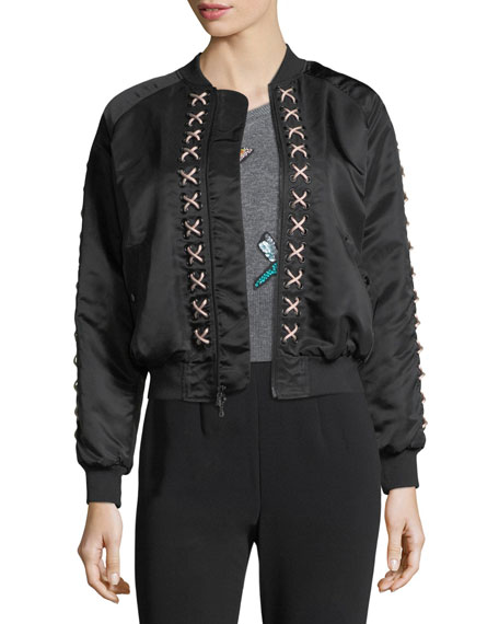 Pria Lace-Up Satin Bomber Jacket