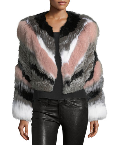 Apollo Cropped Striped Fur Jacket