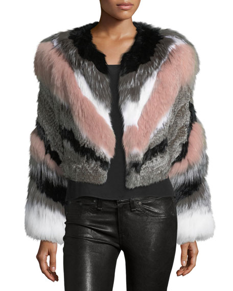 cinq a sept Apollo Cropped Striped Fur Jacket