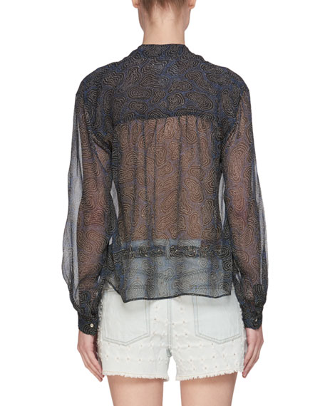 Emana Long-Sleeve Printed Chiffon Silk Blouse
