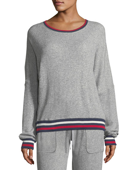 Joie Richardine B Pullover Sweatshirt w/ Striped Trim