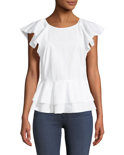 Achava Ruffled Peplum Dotted Cotton Top