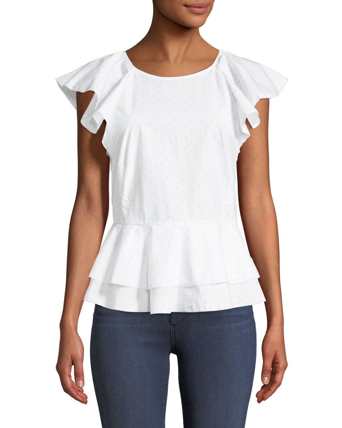 Quick Look. Joie · Achava Ruffled Peplum Dotted Cotton Top