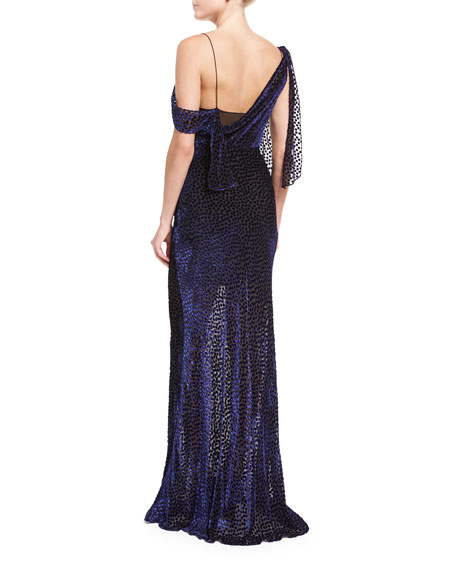 Shoulder-Knot Sleeveless Velvet Devoré Slip Gown