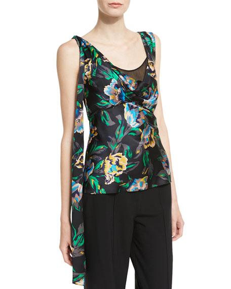 Diane von Furstenberg Sleeveless Shoulder-Knot Floral-Print Silk
