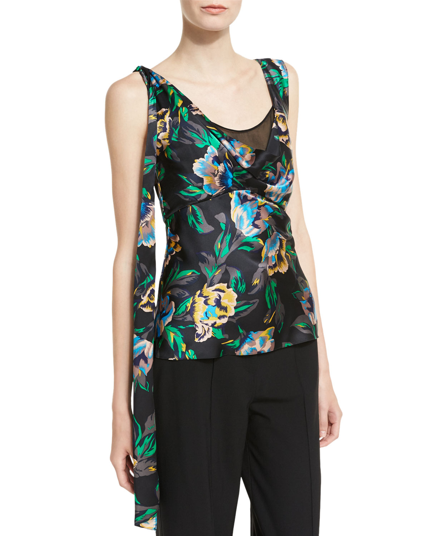 3210936b54a62e Diane von Furstenberg Sleeveless Shoulder-Knot Floral-Print Silk Top ...