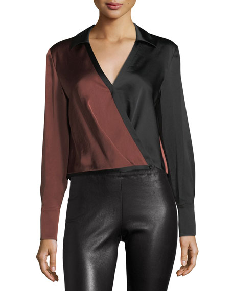 Diane von Furstenberg Long-Sleeve Collared Two-Tone Satin Blouse