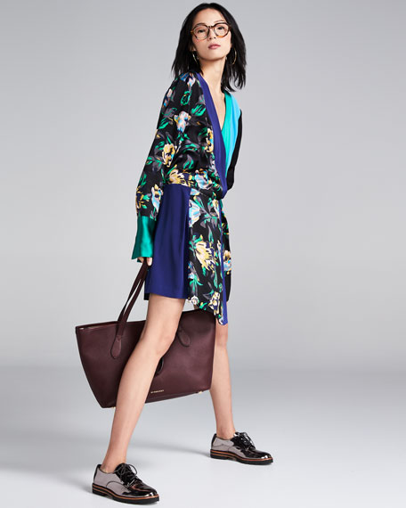 Long-Sleeve Colorblocked Crossover Silk Dress