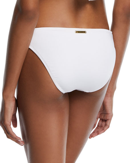 Shirred-Sides Solid Swim Bottoms