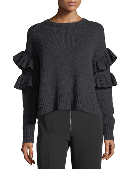 Mona Wool-Blend Pullover Sweater w/ Frills