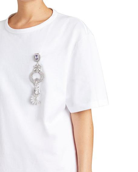 Fine-Cotton T-Shirt w/ Brooch