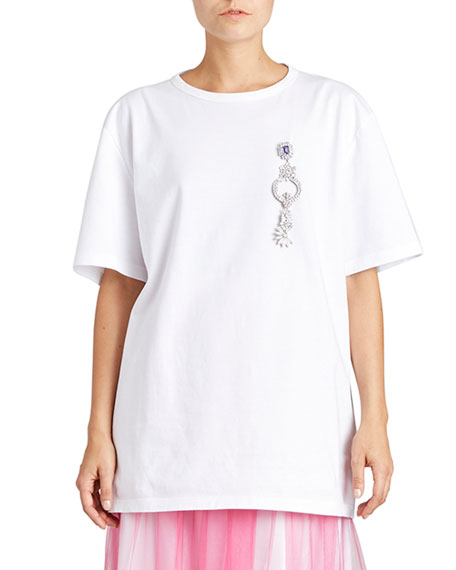 Burberry Fine-Cotton T-Shirt w/ Brooch