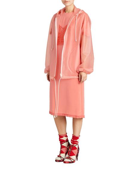 Translucent Plastic Hooded Zip Coat