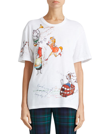 Burberry Crewneck Sketch-Print Cotton T-Shirt