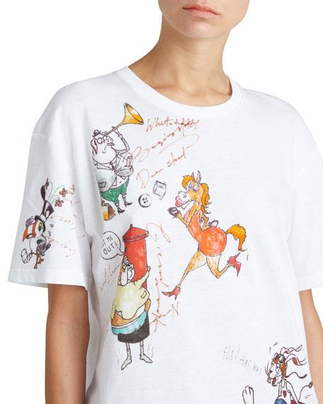 Crewneck Sketch-Print Cotton T-Shirt