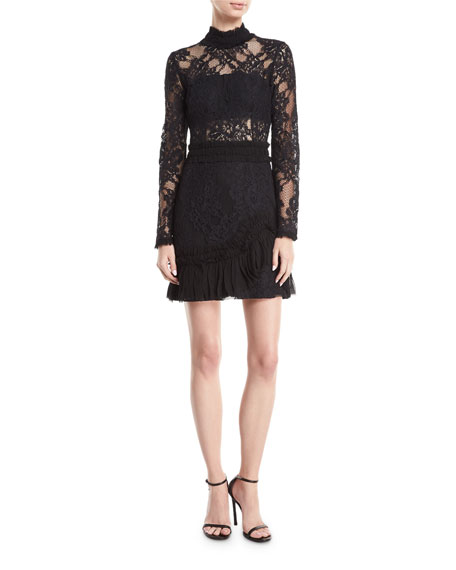 Alexis Wilhemina Mock-Neck Long-Sleeve Lace Mini Dress