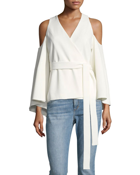 Alexis Nila Crossover-Front Cold-Shoulder Crepe Top