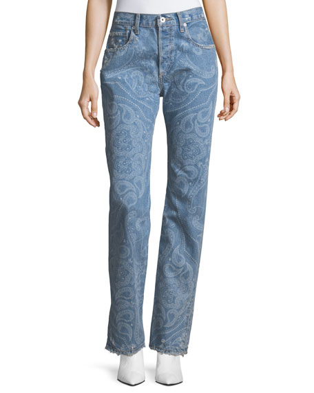 Jonathan Simkhai Paisley-Printed High-Rise Straight-Leg Denim Pants