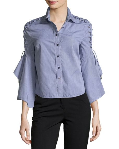 Jonathan Simkhai Button-Front Gingham Poplin Shirt w/ Lace-Up