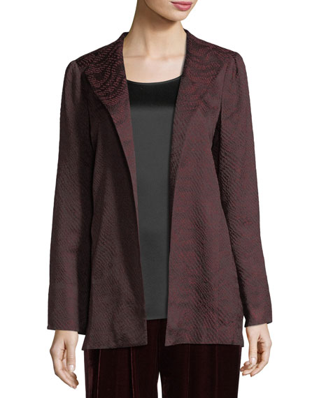Eileen Fisher Silk-Blend Jacquard Wave Jacket, Petite