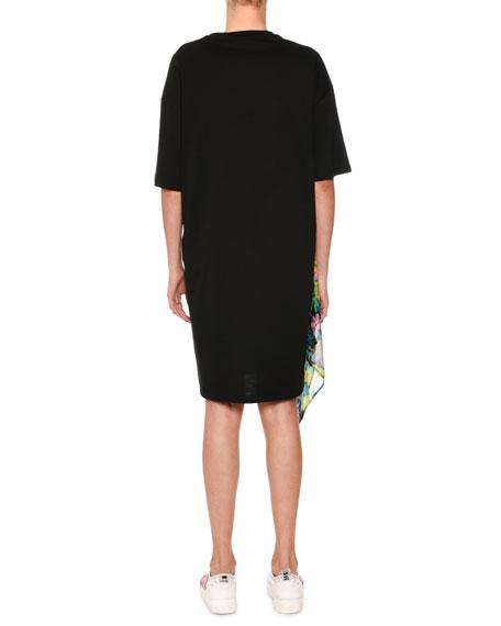 Tulle-Trim Short-Sleeve T-Shirt Dress