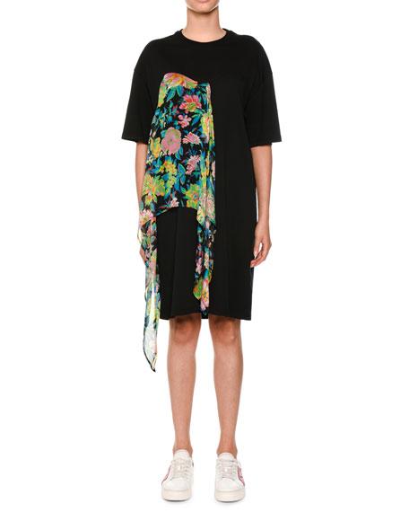 MSGM Tulle-Trim Short-Sleeve T-Shirt Dress