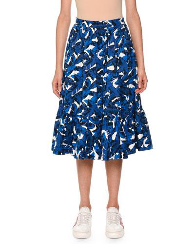 Palm-Print Pleated Midi Skirt