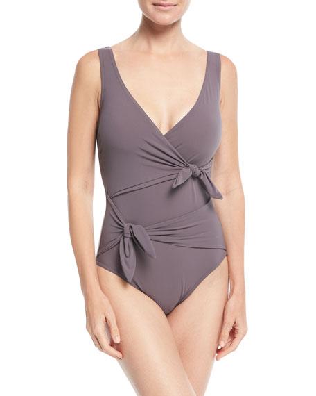 Karla Colletto Barcelona Surplice-Neck One-Piece Swimsuit w/ Knot