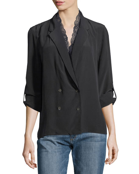 Equipment Frances Double-Breasted Silk Jacket Blouse with Lace