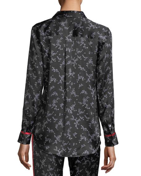 Slim Signature Button-Front Pajama Silk Satin Shirt