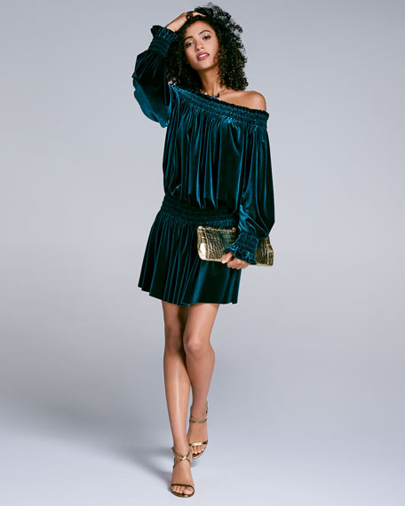 Smocked Velvet Peasant Off-Shoulder Dress