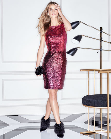 Sequin Bateau-Neck Cocktail Dress