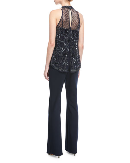 Beaded Bodice Jumpsuit w/ Halter-Neck
