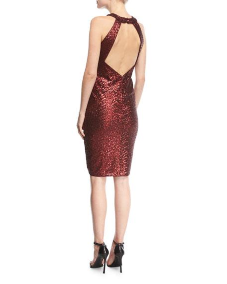 Sequin Halter Crossover Cocktail Dress