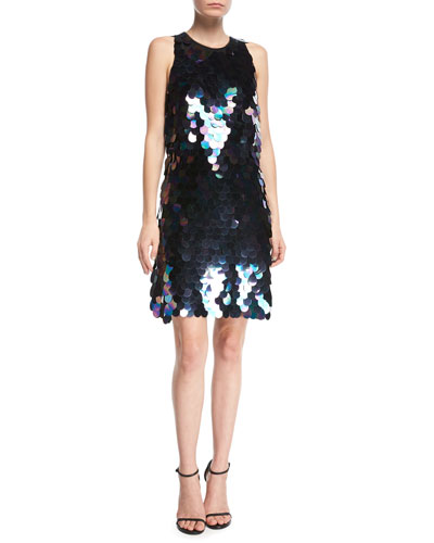 Sleeveless Paillette-Embellished Cocktail Dress