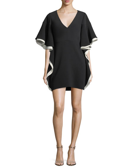 Halston Heritage Colorblocked V-Neck A-line Cocktail Dress w/