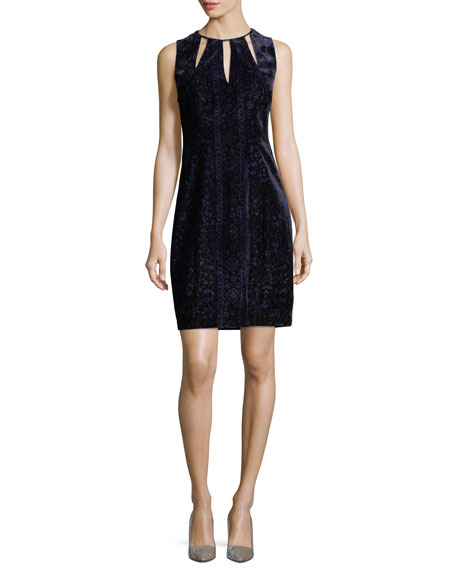Elie Tahari Jemra Sleeveless Velvet Sheath Dress, Mystic